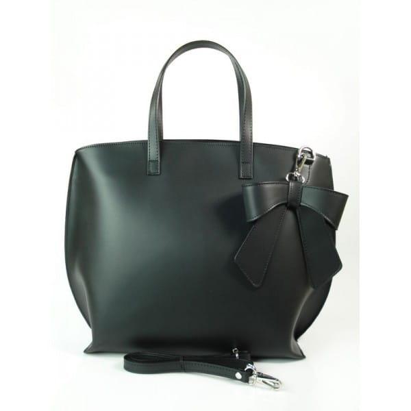 Czarna Włoska torba A4 Shopper Bag Vera Pelle SB689N