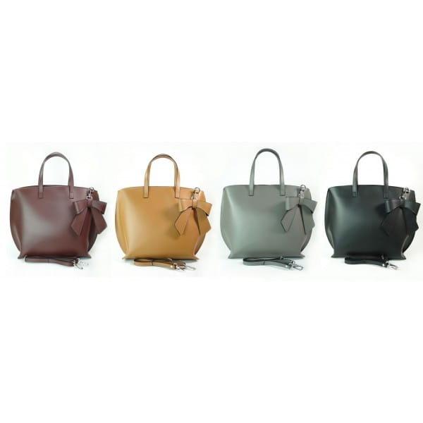 Bordowa Włoska torba A4 Shopper Bag Vera Pelle SB689RR
