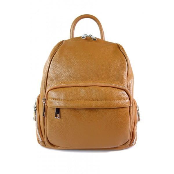 Elegancki poręczny plecak Vera Pelle Camel VP344C