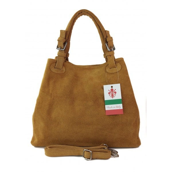 Miękki zamszowy kuferek -Włoski worek Vera Pelle ,Camel KLM425C